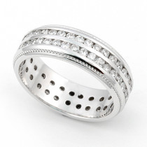 Channel set Diamond Eternity Milgrain Ring (1 1/5 ct.)