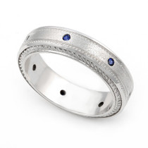 Bezel set Blue Sapphire Semi Eternity Cord Design Ring