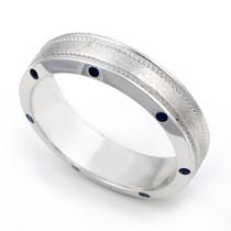 Bezel set Blue Sapphire Semi Eternity Milgrain Ring