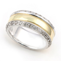 Pave' set Two Tone Diamond Eternity Ring (1 ct.)