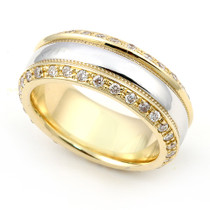 Pave' set Two Tone Diamond Eternity Ring 2 (1 ct.)
