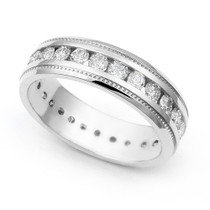 Channel set Diamond Eternity Milgrain Ring (1 3/5 ct.)
