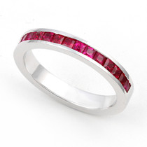 Channel set Ruby Half Eternity Ring