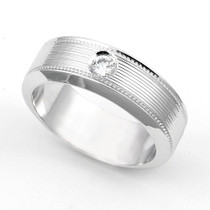 Bezel set Diamond Line Design Milgrain Ring (1/10 ct.)