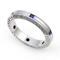 Channel set Blue Sapphire Semi Eternity Ring