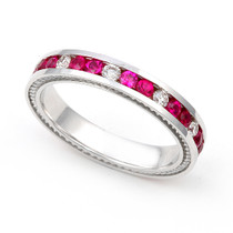 Diamond and Ruby Semi Eternity Ring