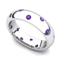 Bezel set Classic Semi Eternity Amethyst Ring 5mm