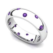 Bezel set Classic Semi Eternity Amethyst Ring 5mm