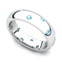 Bezel set Classic Semi Eternity Aquamarine Ring 5mm