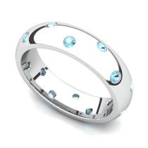 Bezel set Classic Semi Eternity Aquamarine Ring 5mm