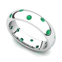 Bezel set Classic Semi Eternity Emerald Ring 5mm