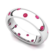 Bezel set Classic Semi Eternity Ruby Ring 5mm