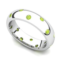 Bezel set Classic Semi Eternity Peridot Ring 5mm