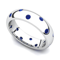 Bezel set Classic Semi Eternity Sapphire Ring 5mm