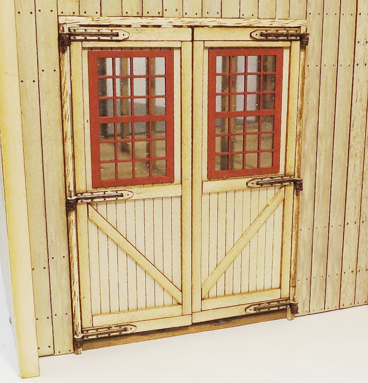 Large On30 engine shed doors with windows - Kitwood Hill Models Store