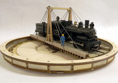 3 truck Heisler sitting on 65ft HO gallows turntable.