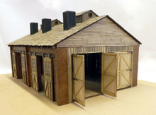 O scale 2 road engine shed. Upgraded for 2020 with O scales doors.  (On3 shown)