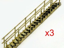 3 Complete stairways with handrails. 1/48 scale. 40 deg angle