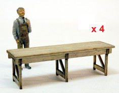 kit of 4 sturdy 9th long O scale workbenches. 1/48 figure shown only for reference