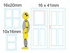 """window and door sizes shown against a 5ft 10"""" 1/48 scale figure"""