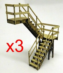 O scale reverse stairway with landings and handrails. Kit makes 3x 2story stairways, (or 2x 3storey, or 1x 6 storey)