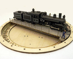 "HO 9"" standard gauge turntable with 3 truck Heisler"
