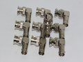 10 x BNC Male to Female Right Angled 90 Degrees Adaptor, Solid Metal Gold Pins