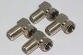 4 x Right Angle / 90 Degrees Satellite Male F Plug Low Profile Adaptor