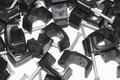 50 x Black 6mm FT&E Flat Cable Clips for Twin Coax Cable Webro WF100, 13mm Wide