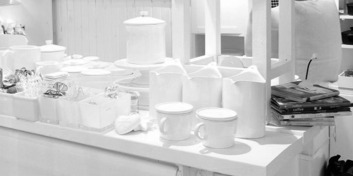 barn store kitchen section white ware