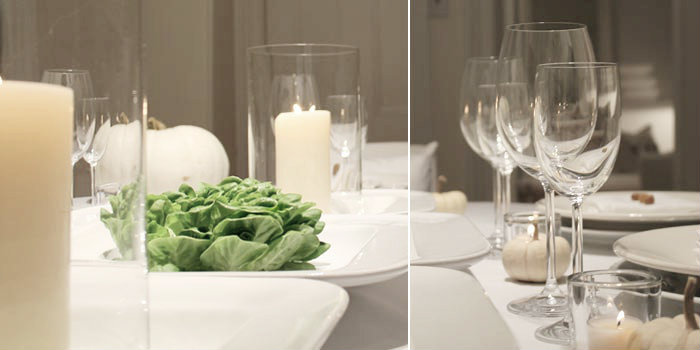 dinner tablesetting with clear vglass votive holders