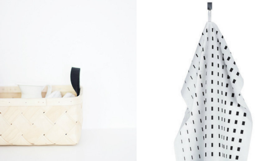 marimekko kullervo dish towel black and white
