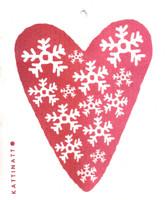 Snowflakes Heart Red