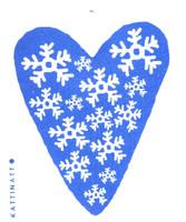 Snowflakes Heart Blue