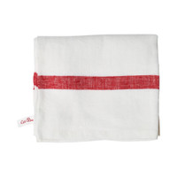 White Linen Towel - Red Stripe