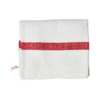 White Linen Towel - Red Stripe
