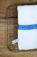 White Linen Towel - Blue Stripe