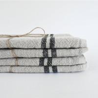 Vintage Linen Towel Black stripe