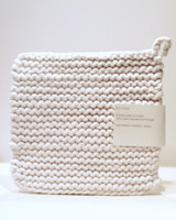 Knitted Pot Holder Ivory Cotton