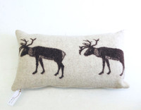 Wool Pillow Cover - Reindeer Motif