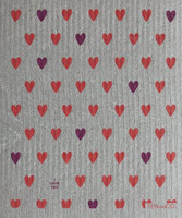 Hearts Coral - Purple  Grey Dishcloth - New!