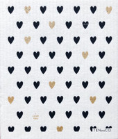 Hearts Gold - Black Dishcloth - New!