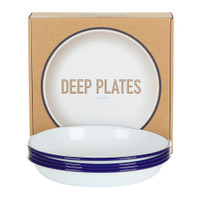 Falcon Enamelware Deep Plate Set  - White Blue Rim