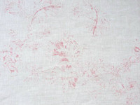 Linen Pillow Cover - Faded  Raspberry Flowers