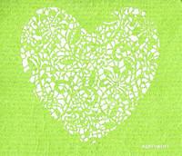 Lace Heart Apple Green