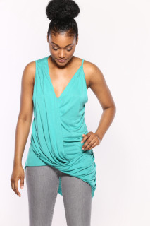 Emerald Side Draped Top