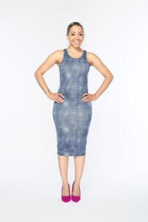 Denim Print Midi Dress