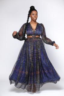 Paisley Studded Maxi Dress