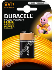 Duracell 9V PP3 Plus Power Alkaline Battery (LR22). 1 Pack