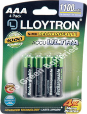 LLoytron AAA 1100 mAh rechargeable batteries. Pack of 4